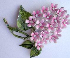 Large Vintage Pink Cluster & Rhinestones Enamel Flower Pin Brooch