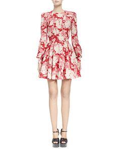 Draped+Kimono+Floral+Dress+by+Saint+Laurent+at+Bergdorf+Goodman.