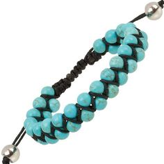 """Heirloom Finds Double Row Turquoise Bead Macrame Friendship Shamballa Bracelet Heirloom Finds. $17.99. Perfect for a Man or Woman. Arrives Gift Boxed!. Double Row of faceted 6mm Beads, total bracelet width 12mm. Wear alone or layer with other bracelets. Bracelet adjusts from 7"""" to 10"""""""