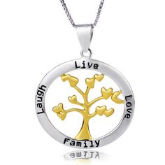 Cheap fine jewelry, Buy Quality collier necklace directly from China collier women Suppliers: Genuine 925 Sterling Silver Fine Jewelry Letter Love Tree Pendant Necklace Women Girls Golden Plated Party Gift Collier Tree Necklace, Silver Pendant Necklace, Gold Pendant, Sterling Silver Necklaces, Silver Bracelets, Silver Jewelry, Jewelry Shop, Fine Jewelry, Glass Jewelry