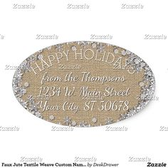 Faux Jute Textile Weave Custom Name Address Label Oval Sticker. Unique, classic, trendy, pretty and decorative Holiday season address label. Beautiful, unique, classic, trendy, pretty and decorative faux jute textile weave cloth pattern bordered by pretty winter season snow flakes. With room to customize or personalize with your name and address.