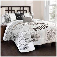 Black And White Queen Size Comforter Sets Bedroom Distinctive Bedding Set With Paris Paris Room Decor, Paris Rooms, Paris Bedroom, Dream Bedroom, Cheap Comforter Sets, Queen Size Comforter Sets, Bedroom Themes, Bedroom Decor, Bedroom Ideas