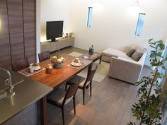 グレー色の床材にウォールナット材の家具でコーデ Decor, Conference Room, Furniture, Table, Home, Home Decor, Room