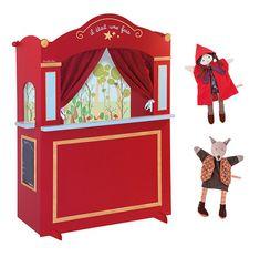 Le grand théâtre et son décor, 5 marionnettes disponibles - Il était une fois - Mémoire d'enfant 2015