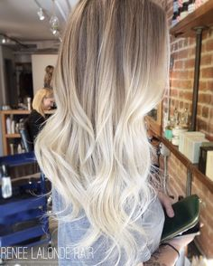 Ombre Balayage Platinum Blonde Long hair