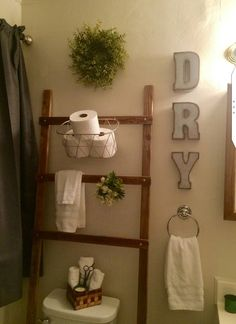 Bathroom ladder, blanket ladder, diy ladder, shelf, wood ladder in Wood Ladder, Ladder Decor, Diy Ladder, Ladder Shelves, Bathroom Wall Colors, Small Bathroom, Bathroom Sets, Brass Bathroom, Bathroom Storage Ladder
