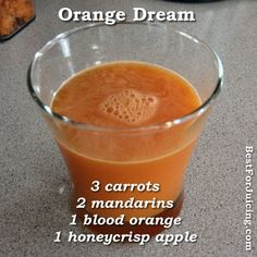 Orange Dream Juice Recipe - man I miss mandarins wish we got them here in Bali :( Healthy Juice Recipes, Juicer Recipes, Healthy Juices, Healthy Smoothies, Raw Food Recipes, Healthy Drinks, Juice Drinks, Juice Smoothie, Smoothie Drinks