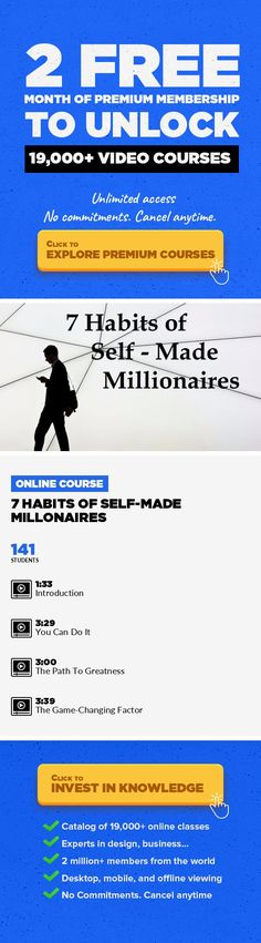 7 Habits Of Self-Made Millonaires Entrepreneurship, Lifestyle, Ideas, Success, Creativity, Other, Habits #onlinecourses #CoursesBook #onlinecollegedegrees   Did you know that there are many people who think that the way you start your day is what defines your success?Many of the world greates thinkers, creators and innovators habe been defined my their rutines and habits.In this class I will teach...