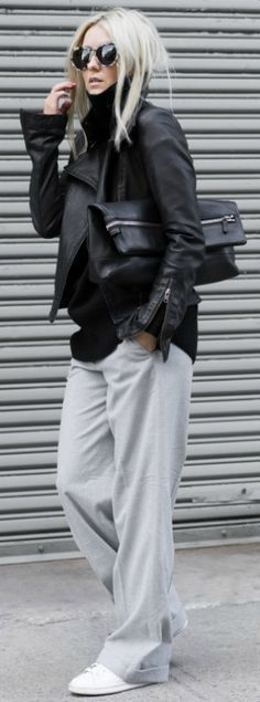We are loving this sleek and slouchy look by Figtny. Try and recreate your own version by pairing comfy joggers with a leather jacket and some fresh sneakers. Trousers/Sweater/Bag: Aritzia, Jacket: Mackage, Sneakers: Adidas.