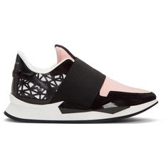 Givenchy Pink Runner Slip-On Sneakers (€370) ❤ liked on Polyvore featuring shoes, sneakers, pink, slip-on shoes, slip on trainers, pull-on sneakers, slip-on sneakers and pink leather shoes