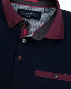 Block colour polo - Navy | Tops & T-shirts | Ted Baker UK