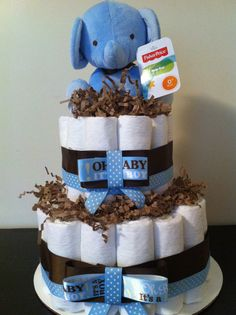 2 Tier Elephant Diaper Cake, Blue and Brown, Jungle Diaper Cake, Safari Baby Shower, Baby Shower Centerpiece, Boy Baby Shower