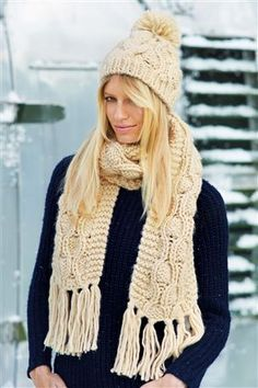 Buy Swirly Cable Hat And Scarf Set from the Next UK online shop