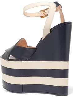 82e809e2b34 Gucci Two-Tone Leather Wedge Sandals Leather Wedge Sandals