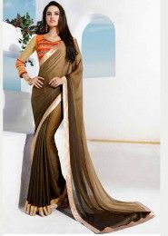 Party Wear Georgette Brown Lace Border Work Saree
