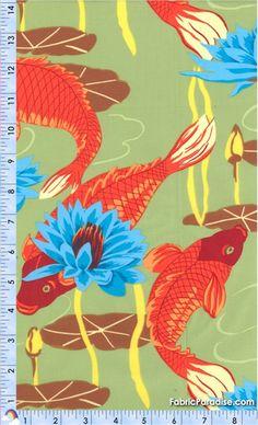 Koi carp and waterlillies fish fabric