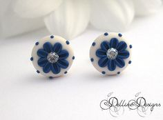 Wispy   Unique Polymer Clay Stud Earrings  by DellineDesigns                                                                                                                                                                                 More