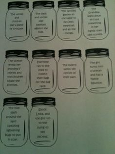 """When Lightening Comes in a Jar"" by Patricia Polacco--Sequencing Activity in little Mason Jars- Go to teachingwithstyle... to get a copy."