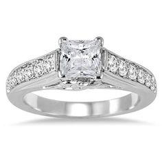 1 2/5 Carat Princess Cut Diamond Engagement Ring in 14K White Gold