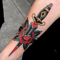 Inner Elbow Tattoos, Inner Forearm Tattoo, Knee Tattoo, Leg Tattoos, Sleeve Tattoos, Men Flower Tattoo, Rose Tattoos For Men, Tattoos For Guys, Adaga Tattoo Old School