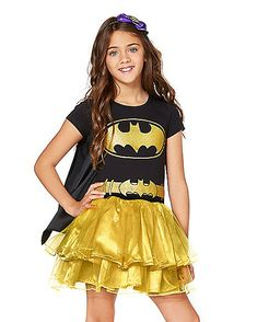 Size 3-11 years Girls Batman Costume Superhero Dress Up Outfit Batgirl Child