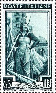 """CANAPA (la): Emilia Romagna Francobollo emesso il 20/10/1950 - Serie: """"Italia al lavoro"""" Dimensioni: 24 x 40 mm Disegnatore: C. Mezzana"""