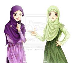 comm: hijab girls by ~sayuko on deviantART