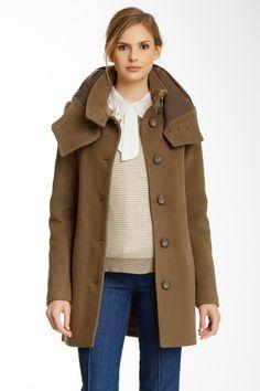 Mackage | Edda Wool Blend Coat with Leather Detail | Nordstrom Rack