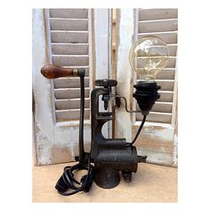 Vintage Rustic Meat Grinder Lamp by HandMadeProjects4u on Etsy