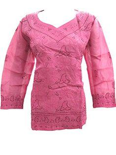 Pink Indian Tunic Tops Chicken Hand Embroidered Cotton Kurta Blouse for Womens M Mogul Interior http://www.amazon.com/dp/B00WM6XUKM/ref=cm_sw_r_pi_dp_kEhxvb0E6B8K4