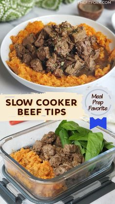 This easy slow-cooker recipe, uses lean sirloin steak, an cooks low and slow all day to create tender morsels of beef in a delicious meaty gravy! A family favorite and suitable for paleo, keto, low carb and whole30 diets. Also great for meal prep. For more healthy beef recipes and clean eating inspo, visit thefitfor.com