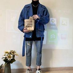 Korean Fashion Men, Korean Street Fashion, Denim Jacket Men, Men's Denim, Men Shorts, Denim Jackets, Sporty Outfits, Korean Outfits, Streetwear Jackets
