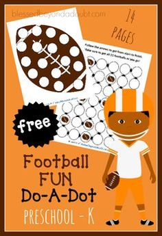 Super FUN football do a dot for the little ones! Perfect little activity while you are watching the game. 14 pages of FREE football fun.