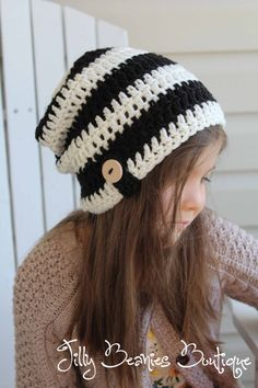 Crochet Black White Slouchy Boy Girl Beanie Hat Infant