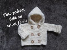 Instructions écrites ici:  ...  Réalisez facilement ce paletot pour bébé au tricot, totalement mixte est indémodable!. Knit, Baby, Knitting, Card, Easy, Cardigan, Cap, Tuto, Tricot, Facile,