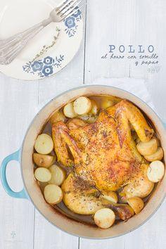 Pollo al horno con tomillo y papas por Chokolat Pimienta Spanish and English version