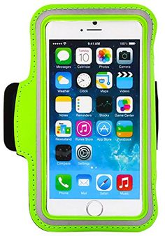 """myLife Lime Green and Cloudy Gray {Rain Resistant Velcro Secure Running Armband} Dual-Fit with Key Slot Jogging Arm Strap Holder for Apple iPhone 6 Plus (5.5 Inch) """"All Ports Accessible"""" myLife Brand Products http://www.amazon.com/dp/B00SGAI9JA/ref=cm_sw_r_pi_dp_0PF-ub1A07Y2G"""