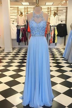 Gorgeous Beads Blue Long Prom Dress
