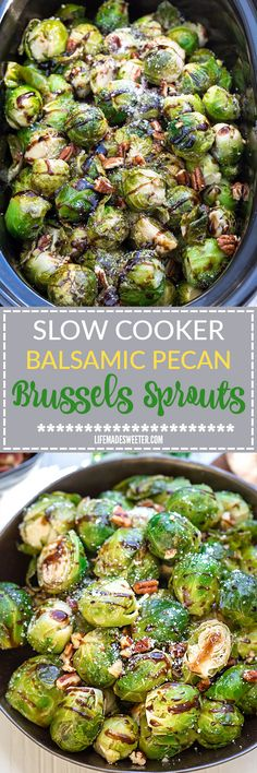 Slow Cooker Balsamic Brussels Sprouts plus 2 other holiday side dishes to help free up your oven. Recipes include Orange Ginger Glazed Carrots and Parmesan Sage Mashed Sweet Potatoes - easy dump and g (Vegetarian Recipes Slow Cooker) Holiday Side Dishes, Side Dishes Easy, Vegetable Side Dishes, Side Dish Recipes, Vegetable Recipes, No Oven Recipes, Cookout Side Dishes, Crockpot Side Dishes, Vegetable Salad