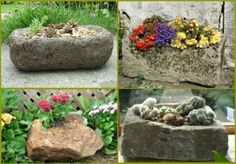 20 Really cool ideas for DIY garden beds and planters - Garden Crafts Rock Planters, Outdoor Planters, Diy Planters, Garden Planters, Outdoor Decor, Planter Ideas, Diy Garden Bed, Diy Garden Decor, Garden Decorations