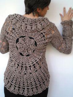 Mandala Fashion Shrug   Mixed Melange Brown  Wool SweaterWoman Hand Crocheted Circle shrug SPRING COLLECTION