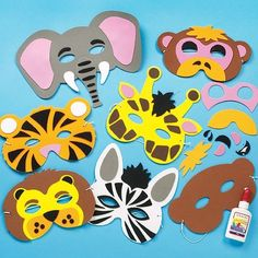Pre-cut elasticated foam masks assorted jungle designs - monkey, tiger, lion, elephant, zebra and giraffe size approx. assorted jungle designs with our foam glue (not included) are included Animal Masks For Kids, Mask For Kids, Jungle Party, Safari Party, Diy Crafts For Gifts, Crafts For Kids, Borboleta Diy, Disney Cars Party, Car Party
