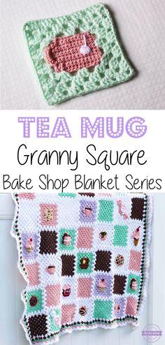 Crochet Tea Mug Granny Square: Bake Shop Blanket Series | Free Pattern from Sewrella