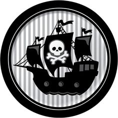 Sail ho! I see t' party ahead! These Pirate Parrty Paper Lunch Plates features a classic black and white pirate ship ready to set sail for sunken treasures of doubloons and jewels. Each plate measures