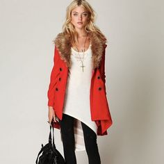 Free People Red Peacoat with Detachable Fur Collar Excellent condition. Beautiful coat. Too small for me now. Free People Jackets & Coats Pea Coats