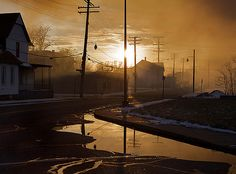 Smoke-filled streets on Detroit's Westside after a structure fire. At the end of the street, a fire truck collided with a passenger vehicle on its way to the fire. Streets Have No Name, Life Is Strange, Fire Trucks, Surrealism, Detroit, Storytelling, Michigan, Scenery, Ocean