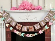 Woodland fox baby shower decorations - tribal baby shower - it's a Girl banner- Girl fox baby shower - your color choices by anyoccasionbanners on Etsy https://www.etsy.com/listing/472163212/woodland-fox-baby-shower-decorations
