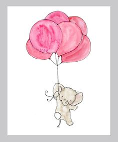 Pink Elephant Balloon Print I really want this but with Multi-colored heart shaped balloons and a few more strings instead of the one all the way up.