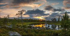 Lokstallarna, in northern Dalarna, Sweden is a fabulous place for flyfishing for Brown Trout. Even if the fish wont bite, the view is spectacular. Celestial, Explore, Sunset, Instagram Posts, Green, Outdoor, Sweden, Outdoors, Sunsets
