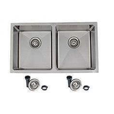 """31"""" Stainless Steel Kitchen Sink, 18 Gauge, 50/50 Double Bowl"""